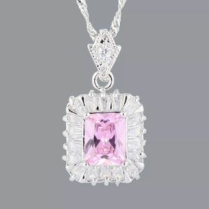 🆕 18 kt white gold plated pink sapphire necklace